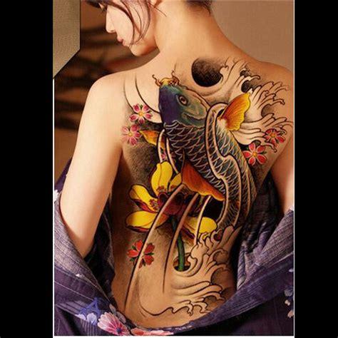 tattoo lotus full back full back tattoo colorful koi lotus carp waterproof