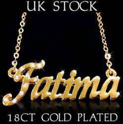 Personalised Name Necklace Fatima Name Necklace 18ct Gold Plated Asian Arabic Personalised Jewellery Gift Ebay