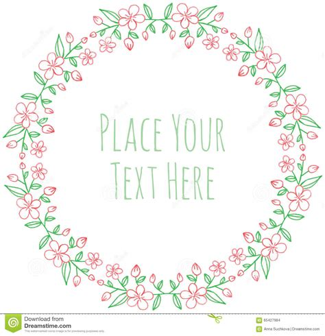 flower frame template frame fresh flower garland stock vector image