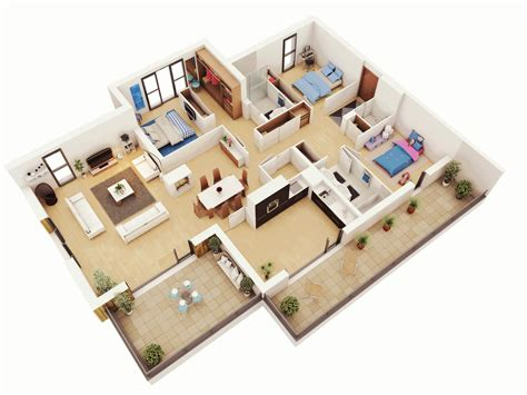 3 Bedroom House Plan | 25 more 3 bedroom 3d floor plans