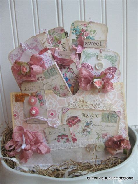 Handmade Treat Bags - shabby chic wish you were here postcards pocket