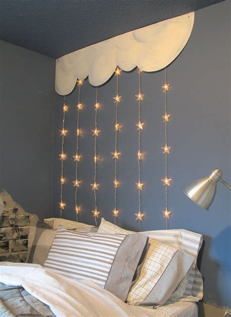 cloud and twinkle lights bedroom