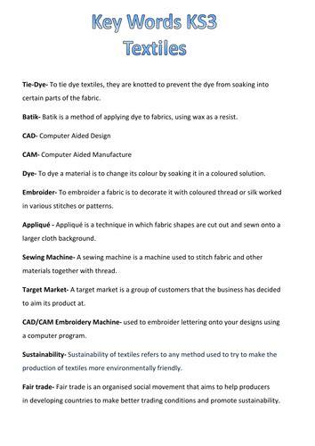 ks textiles key words  neryskate teaching resources