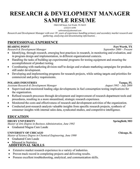 C Developer Resume Sle by Product Development Manager Resume Sle 28 Images