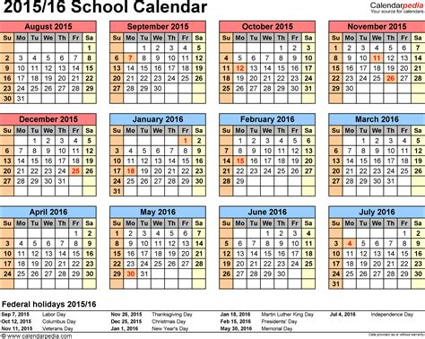 School calendars 2015/2016 as free printable PDF templates