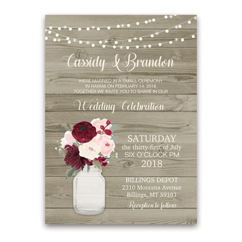 Reception Wedding Invitations by Rustic Wedding Reception Only Invitation Jar