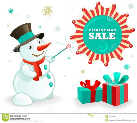 christmas sales banner funny snowman and xmas gifts stock