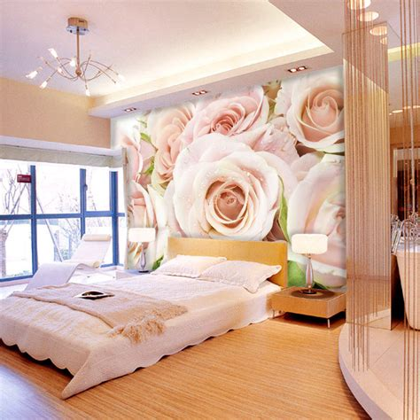 Kk Home Decor White Rose Large Mural Romantic Customized Wallpaper Tv