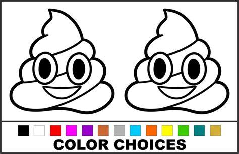 poop emoji coloring page 2x poo poop emoticon emoji choose color size vinyl