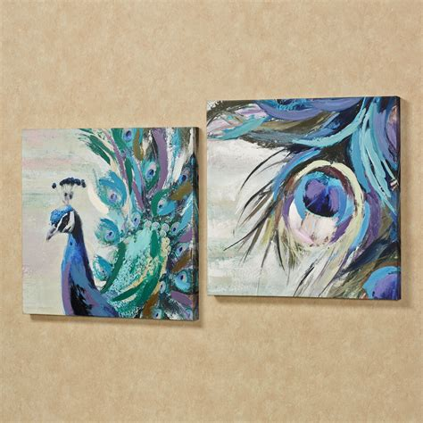 Fanciful Plumes Peacock Canvas Wall Art Set Wall Decor Canvas