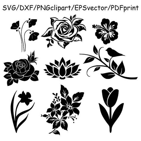 flower pattern dxf flowers svg flowers clipart flowers silhouettes dxf cut