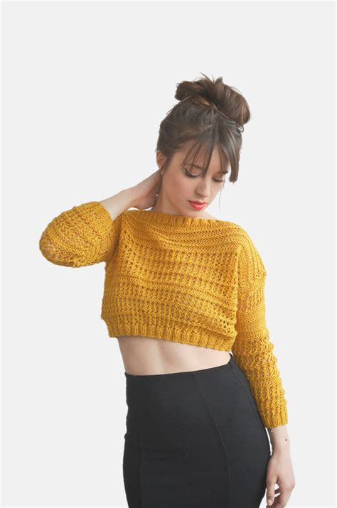 Monkey Yellow Top Knit crop top sweater in mustard yellow knit cotton top