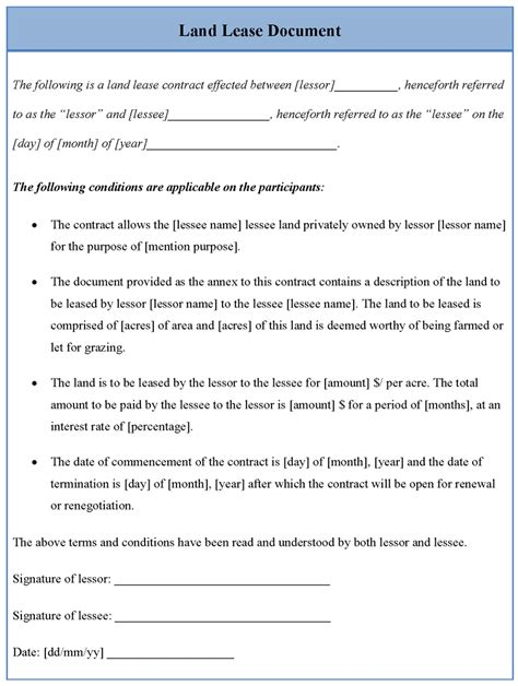land lease template sle templates