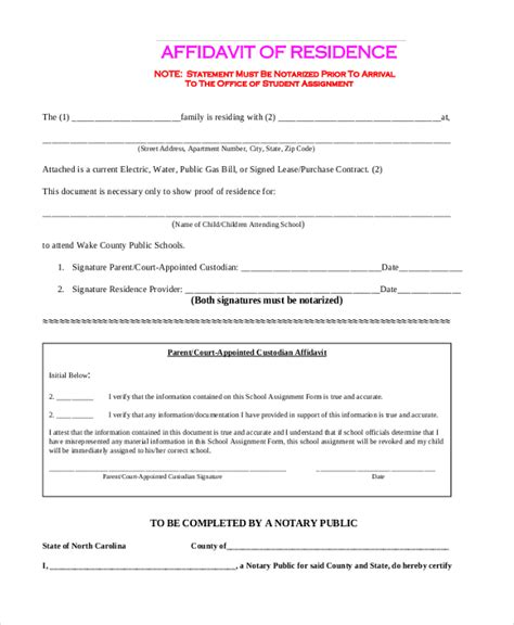 Divorce Affidavit Letter free affidavit forms