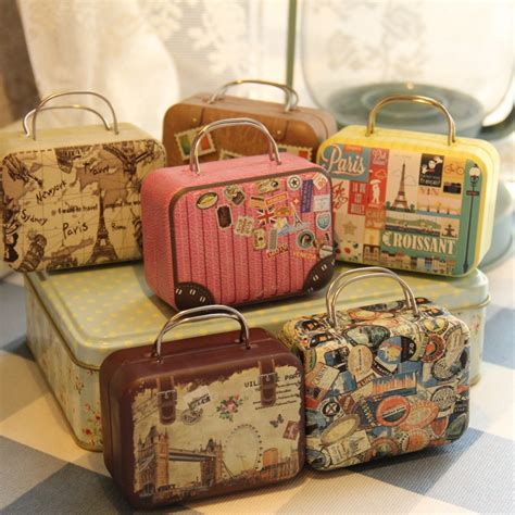 cute vintage suitcase luggage small tin box candy wallet