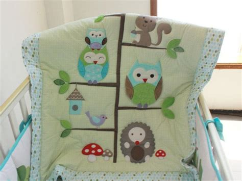 Hedgehog Crib Bedding Sale Baby Bedding Set Embroidery Owls Bird Hedgehog Squirrel Crib Bedding Set 100