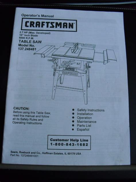 craftsman table saw 137 248481 craftsman table saw 137 248481 operator s manual 4 95