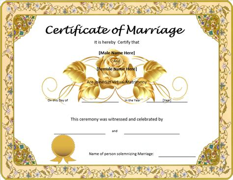 marriage certificate templates free marriage certificate template format template