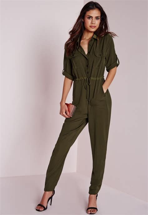 utility jumpsuit in khaki missguided