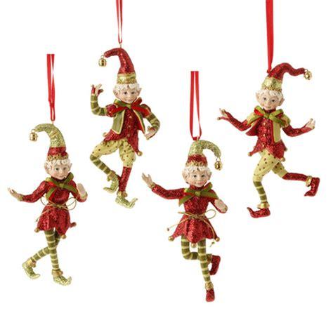 raz snow biz christmas elf christmas ornaments set 4