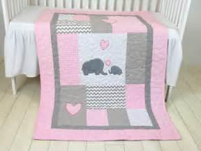 Custom Baby Bedding Canada Pink Baby Blanket Elephant Crib Quilt Bedding