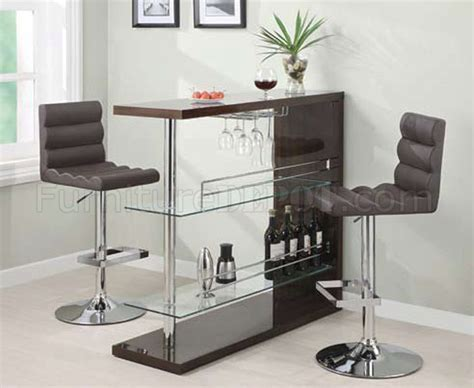 cappuccino gloss finish modern 3pc bar set w clear glass