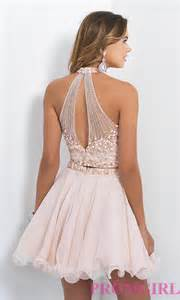 two piece short blush homecoming dress promgirl