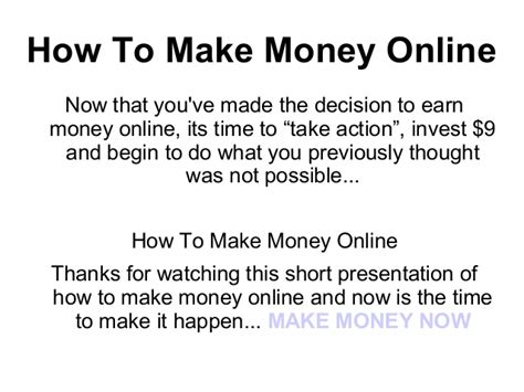 Make Money Online Now - how to make money online