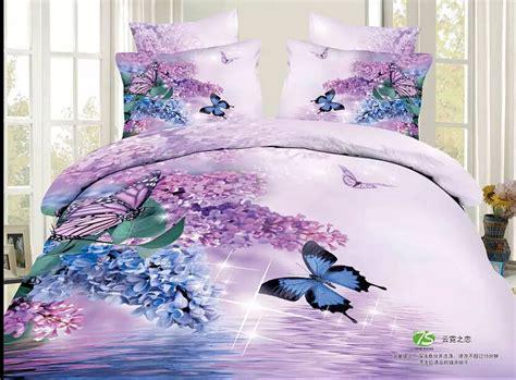 Butterfly Bloom Bedsheet Single 1 size 3d purple bedding sets size comforter sets comforter sets modern