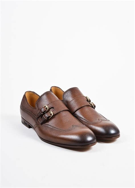 Loafer Shoes Gucci W5943 Sale s brown gucci grain leather buckle loafers luxury garage sale