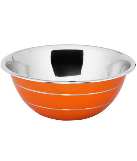 Stainless Bowl Mangkok Stainless 22cm Vavinci montstar professional stainless steel mixing bowl in a food grade orange painted outside