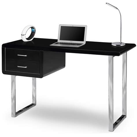 Black And Chrome Computer Desk Centurion Supports Harmonia Gloss Black And Chrome 2 Drawer Modern Computer Desk Ebay