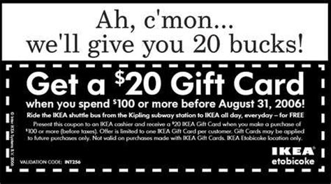 ikea printable gift cards canadian coupons ikea etobicoke 20 gift card with 100