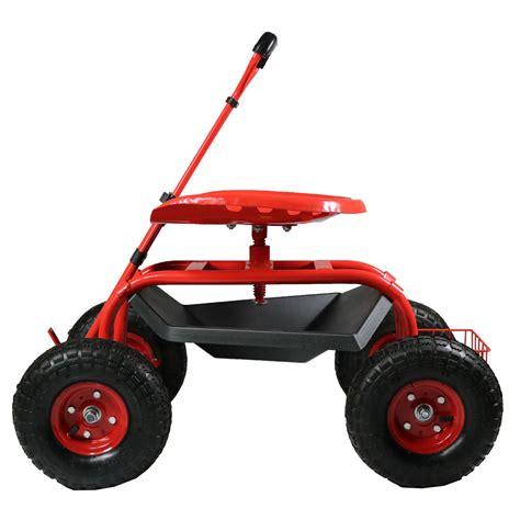 Rolling Garden Work Seat by Rolling Garden Cart W Extendable Steering Handle Swivel