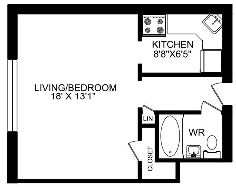 floor plan for bachelor flat 1140 kingston rd greenwin