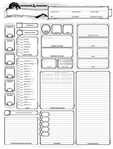 dungeon dragons adventure system large villain card template dungeons and dragons character sheet 5th ed get it here