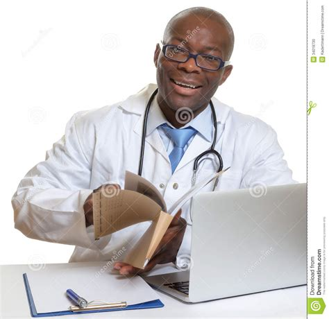 Doctor Records Doctor Reading Records Stock Photo Image 34018730