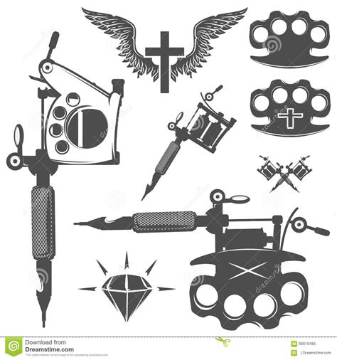 tattoo machine silhouette vector set of tattoo elements and tattoo machines stock vector