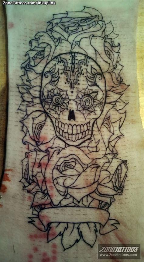 tatuajes de calaveras y rosas pin tatuaje de inkaplink calaveras rosas piel cerdo on