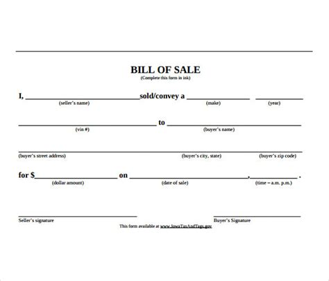 sle car bill of sale template 6 free documents in