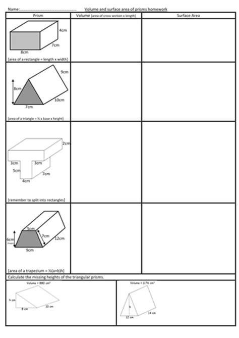 Surface Area Of Triangular Prism Worksheet by Volume And Surface Area Of Prisms Worksheet By Swaller25