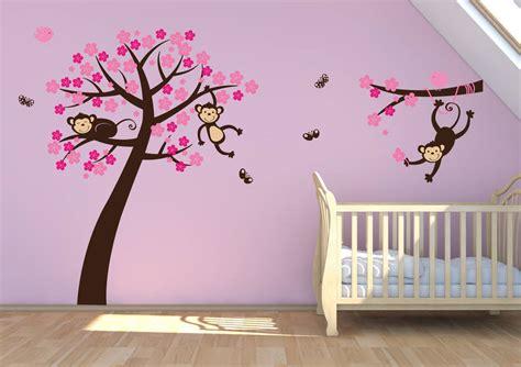 monkey wall stickers monkey blossom tree wall stickers by parkins interiors notonthehighstreet
