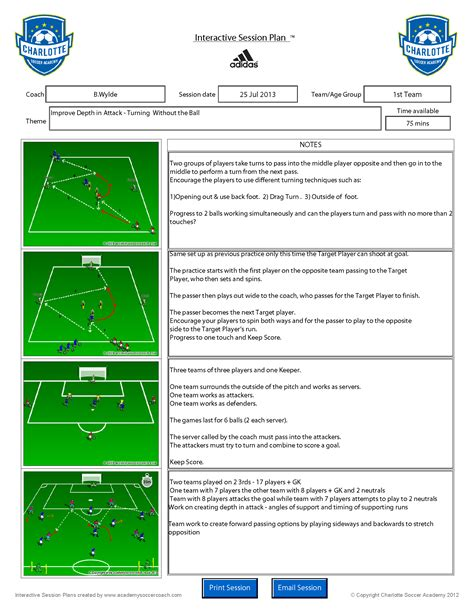 soccer lesson plan template customisation services academy soccer coach asc