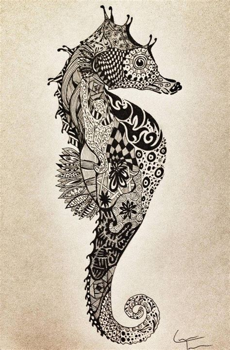 zentangle tattoo animal seahorse drawing quotes pinterest design seahorse