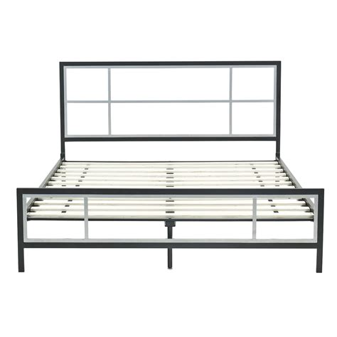queen metal bed frames queen size modern platform metal bed frame w headboard footboard wooden slats ebay