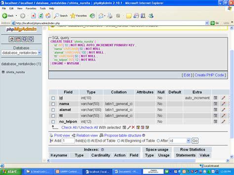 cara membuat database mysql xp cara membuat database mysql di phpmyadmin dengan xampp
