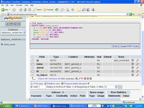cara membuat database web di xp cara membuat database mysql di phpmyadmin dengan xampp