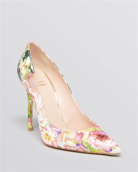 printed high heels lyst stuart weitzman pointed toe pumps nouveau