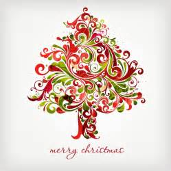 floral swirls tree for christmas vector graphic free