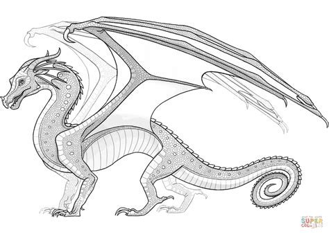 seawing dragon coloring page nightwing dragon wings of fire thekindproject
